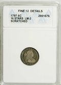 Early Half Dimes: , 1797 H10C 16 Stars--Scratched--ANACS. Fine 12 Details. LM-2. PCGSPopulation (1/46). Numismedia Wsl. Pr...