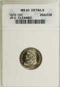 Bust Dimes: , 1833 10C --Cleaned--ANACS. MS60 Details. JR-5. NGC Census: (0/141).PCGS Population (0/97). Mintage: 485,000. Numismedia Wsl...
