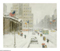 Paintings, GUY CARLETON WIGGINS (American 1883-1962). Winter at the Library. Oil on canvas. 25in. 30in.. Signed lower left. Signed ... (Total: 1 Item Item)