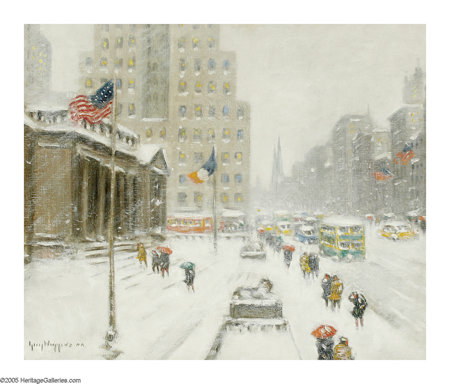 GUY CARLETON WIGGINS (American 1883-1962) Winter at the Library Oil on canvas 25in. 30in. Signed lower left Signed ... (Total: 1 Item Item)