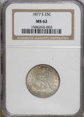 Seated Quarters: , 1877-S 25C MS62 NGC. NGC Census: (35/169). PCGS Population(37/175). Mintage: 8,996,000. Numismedia Wsl. Price: $321. (#550...