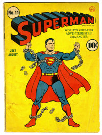 Superman #11 (DC, 1940) Condition: GD/VG. Fred Ray cover. Overstreet 2006 GD 2.0 value = $237; VG 4.0 value = $474