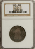 Early Quarters, 1805 25C VG10 NGC. B-2. NGC Census: (6/152). PCGS Population(23/213). Mintage: 121,394. Numismedia Wsl. Price for NGC/PCGS...