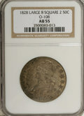 Bust Half Dollars: , 1828 50C Square Base 2, Large 8 AU55 NGC. O-108. NGC Census: (0/0).PCGS Population (5/33). (#6150)...