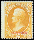 """Stamps, (O2SDa) Agriculture Dept., 1875 Special Printing, 2¢ yellow, overprinted """"SEPCIMEN"""" (error)..."""
