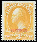 """Stamps, Agriculture Dept., 1875 Special Printing, 2¢ yellow, overprinted """"SEPCIMEN"""" (error)..."""
