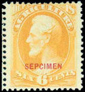 """Stamps, Agriculture Dept., 1875 Special Printing, 6¢ yellow, overprinted """"SEPCIMEN"""" (error)..."""