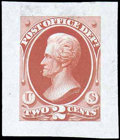 Stamps, (O48-E1b) Post Office Dept., 1873, 2¢ Jackson, small die trial color essays...