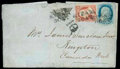 Stamps, (17a) U.S. 1851, 12¢ black, diagonal bisect used as 6¢...