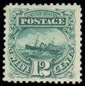 Stamps, (128) 1869 (1875 Re-issue), 12¢ green...