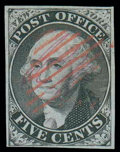 "Stamps, (9X2 var.) New York, N.Y., 1845, 5¢ black on blue, signed ""AC M""..."