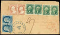 Stamps, (14) 1855, 10¢ green, type II...