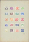 Stamps, Germany 1949 Berlin Buildings official trial printing on carton paper...