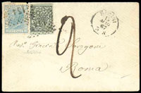 [Italian States] Papal States 1867, Mixed franking cover from Rimini 15 Mai to Rome