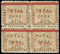 (15, 15 var.) Canal Zone, 1904, 8¢ on 50c bister brown
