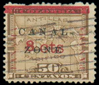(15) Canal Zone, 1904, 8¢ on 50c bister brown
