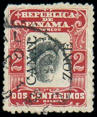 (23g) Canal Zone, 1907, 2c carmine red & black, inverted center, overprint reading up