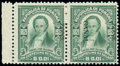 "Stamps, (67a-b) Canal Zone, 1924, 1c green, ""ZONE CANAL"" reading down..."