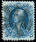 Stamps, (101) 1867, 90¢ blue, F. grill...