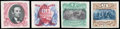 Stamps, (120aP4-122aP4, 129aP4) 1869, 15¢-90¢ centers inverted, plate proofs on card...