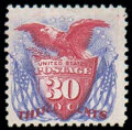 Stamps, (131) 1869 (1875 Re-issue), 30¢ ultramarine & carmine...
