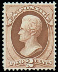 Stamps, (135) 1870, 2¢ red brown, grilled...