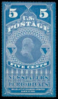 Stamps, (PR1) Newspaper, 1865, 5¢ dark blue...