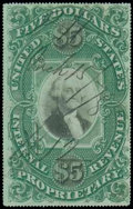 Stamps, (RB10a) Proprietary, 1873, $5 green & black, violet paper...