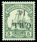 Stamps, New Britain, 1914, 1d on 5pf green, variety surcharge inverted...