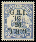 Stamps, New Britain, 1914, 2d on 20pf ultramarine, variety surcharge double, one inverted...