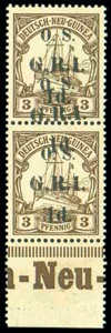 Stamps, New Britain, 1915, 1d on 3pf brown, variety surcharge double...