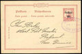 Stamps, New Britain, 1914-15, 2d on 10pf carmine postal stationery card, variety surcharge double...