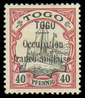 """Stamps, Togo, 1914, 40pf black and carmine, variety 3½mm spacing between """"Togo"""" and """"Occupation"""" instead of 2mm..."""