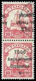 Stamps, Togo, 1914, 10pf carmine, variety overprint tête-bêche in a vertical pair...
