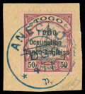 Stamps, Togo, 1915, 50pf black and purple on buff...