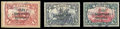 Stamps, Togo, 1915, 1m carmine, 3m violet-black, and 5m carmine and black, from an individual setting...