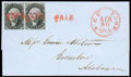 Stamps, (9X3) New York, N.Y., 1847, 5¢ black on gray, signed ACM...