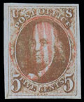 """Stamps, (1 var.) 1847, 5¢ red brown, type """"C"""" double tranfer..."""