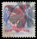 Stamps, (121b) 1869, 30¢ ultramarine & carmine, flags inverted...