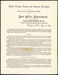 Stamps, Officials, 1873 Post Office Announcement of Official Stamps, first version...
