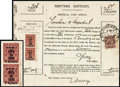 Stamps, (85) China, 1897, $5 large surcharge on 3¢ red Customs...