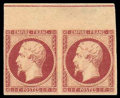 Stamps, (21) France, 1853, 1fr lake on yellowish...