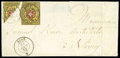 """Stamps, (8) Switzerland, 1850, 10rp """"Rayon II"""", bisect used as 5rp..."""