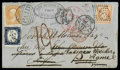 Stamps, 1862 (Sep. 3) Boston, Mass. to France, redirected to Italy...