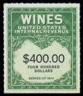 Stamps, (RE165B) Wine, 1942, $400 yellow green & black...