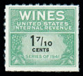Stamps, (RE182D) Wine, 1951-54, 1-7/10¢ yellow green & black...