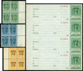 Stamps, Marihuana Tax, 1937, $1 green, $5 blue, $10 orange and $100 green...