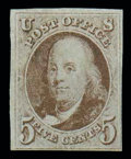 Stamps, (1) 1847, 5¢ red brown...