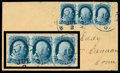 Stamps, (7) 1851, 1¢ blue, type II...