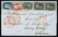 Stamps, (7, 11, 14, 17) 1851, 1¢ blue, type II...